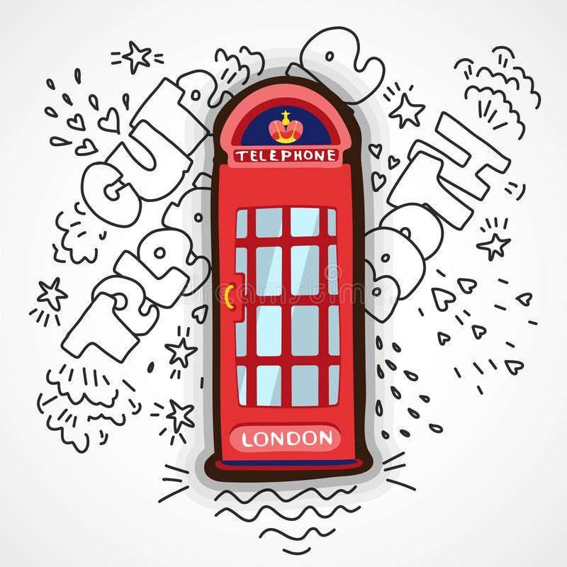 Red London Telephone Booth vector cute cartoon illustration with decoration elements. Pop art cartooning red England. Telephone booth illustration isolated on stock illustration