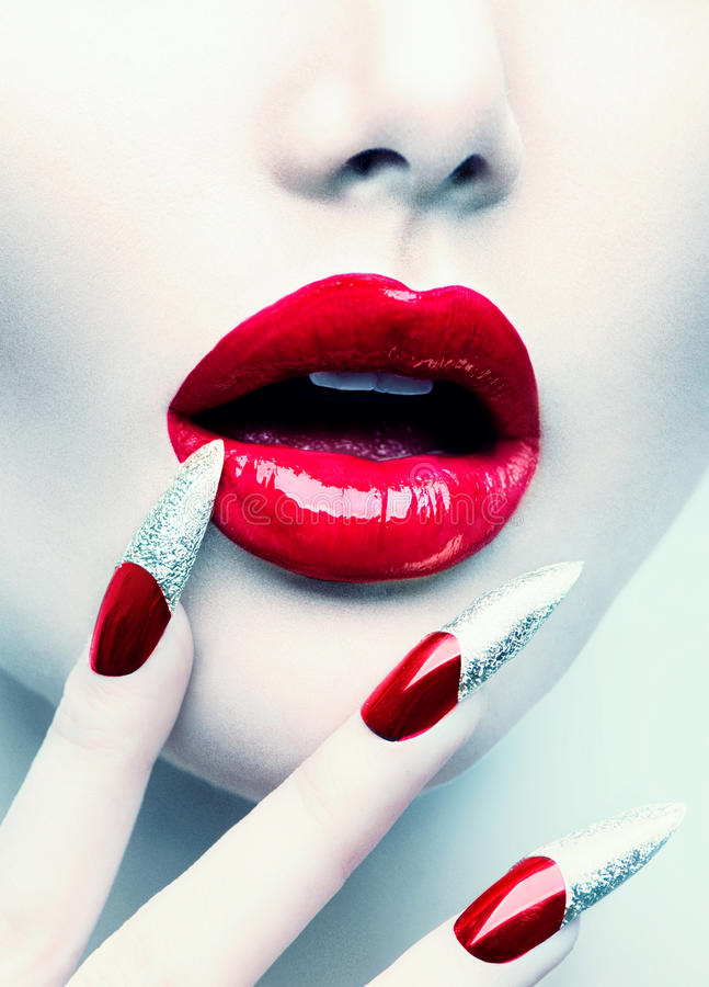 Red Long Nails And Red Glossy Lips Stock Photo - Image of long ...