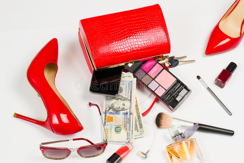 Red look. Women's accessories. Scattered things. Red look royalty free stock image