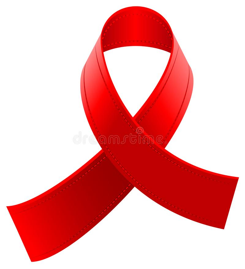 Red Loop Ribbon Symbol World Aids Day Stock Vector Illustration Of