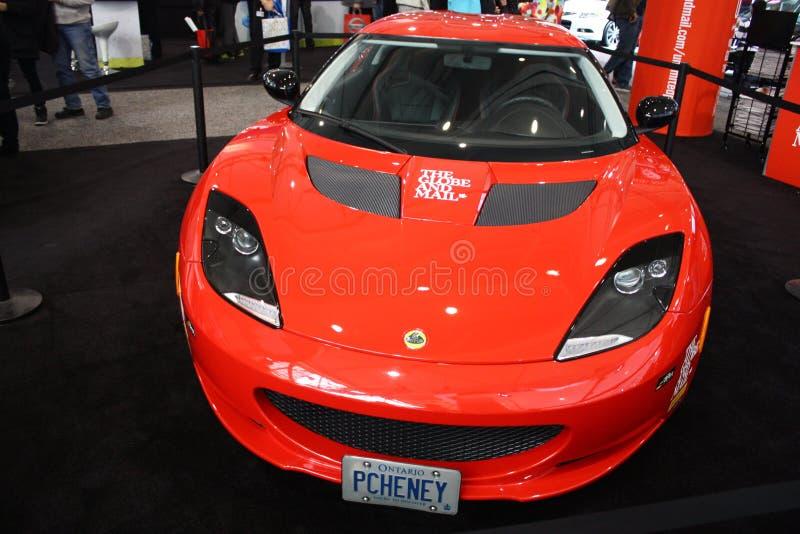 Red Lotus Evora at 2013 Toronto Auto Show royalty free stock images