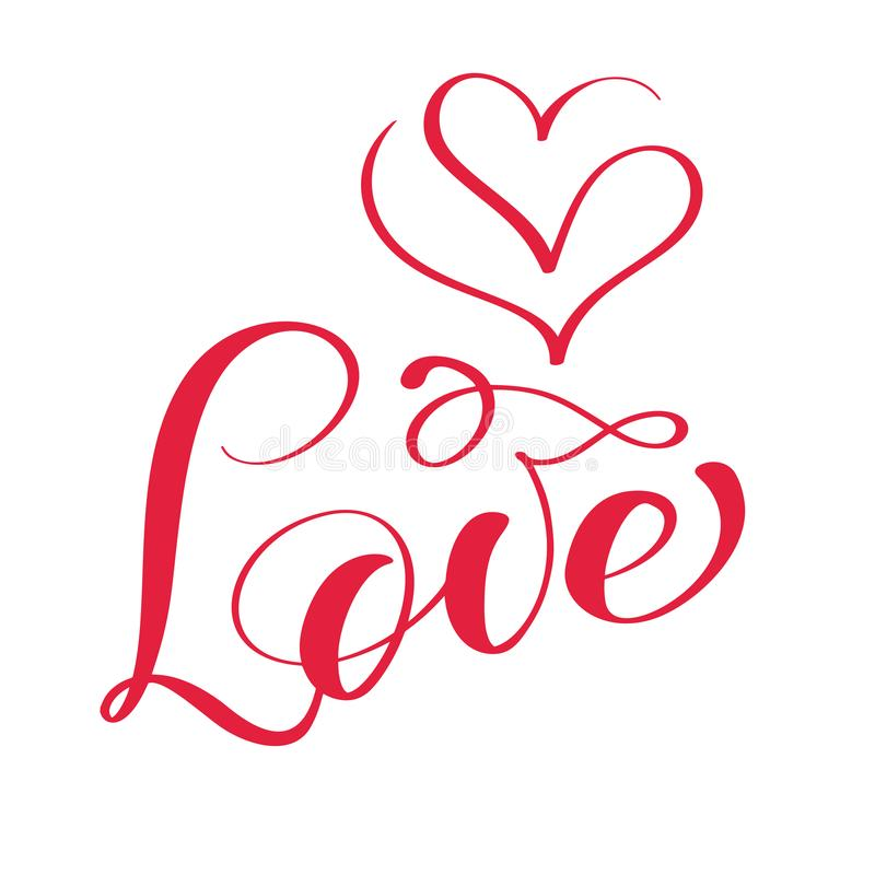 Red Love calligraphy lettering vector word with the logo of hearts. Happy Valentines day card. Fun brush ink typography vector illustration