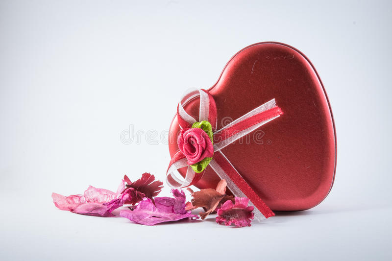 Red Love with dried flowers stock photo