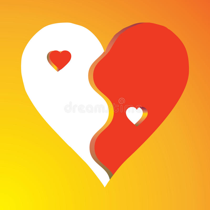 Free Red Love Heart As Yin Yang Symbol Royalty Free Stock Photography - 12618657