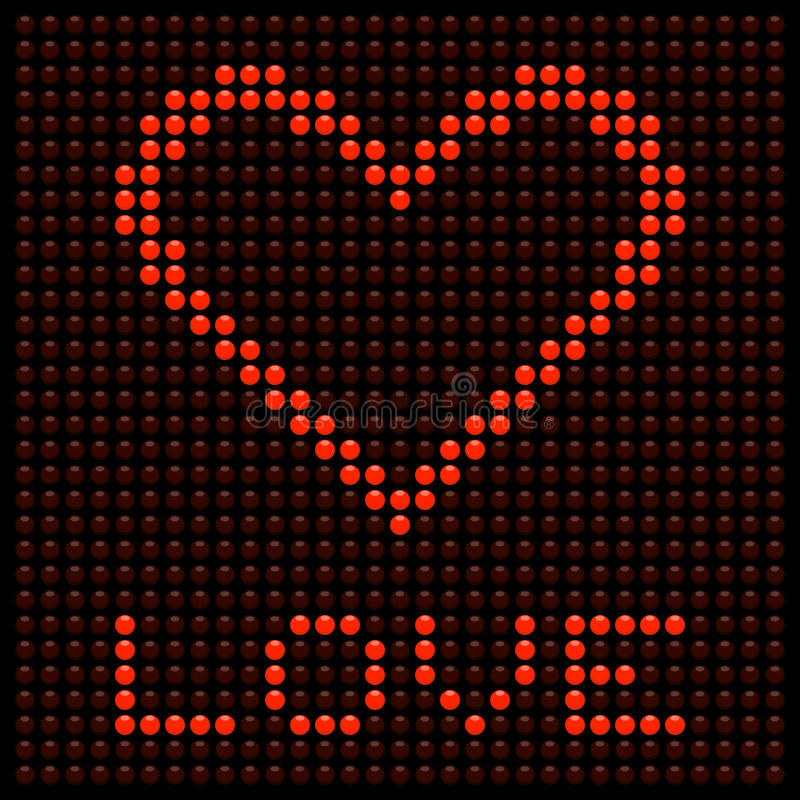 Download Red Love Heart On A LED Board Stock Vector - Image: 30434694