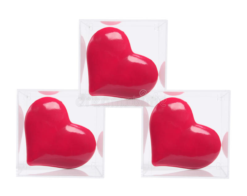 Download Red Love Hearts In Plastic Boxes Stock Image - Image: 12612601