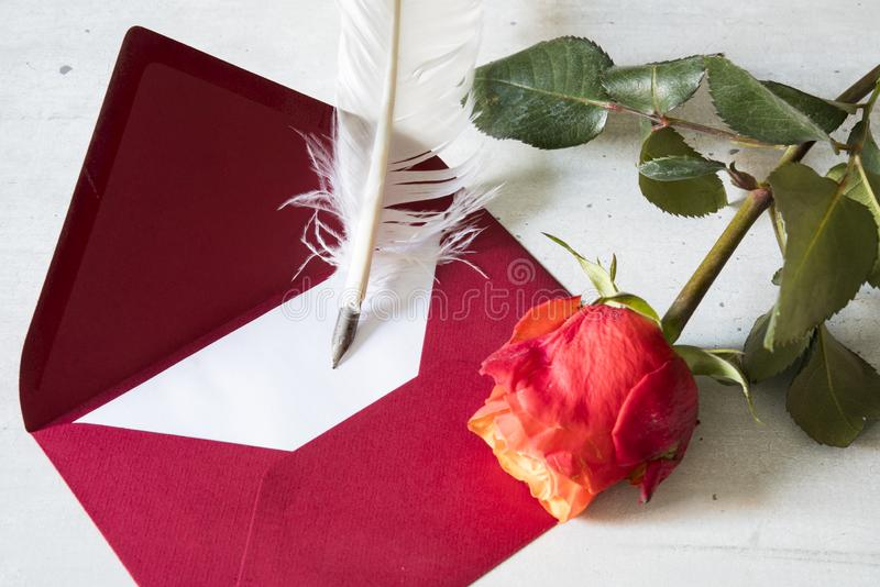 Red love letter with goose feather and rose royalty free stock photography