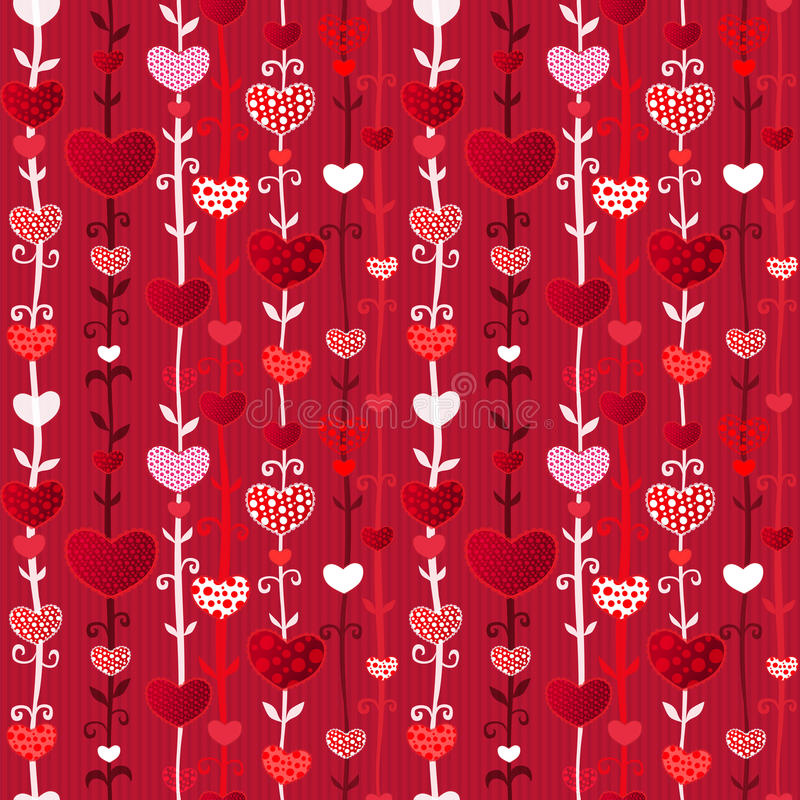 Red Pink Love Valentin's Day Seamless Pattern. Red Love Valentin's Day Seamless Pattern on Craft Paper. Vector Illustration for your design royalty free illustration