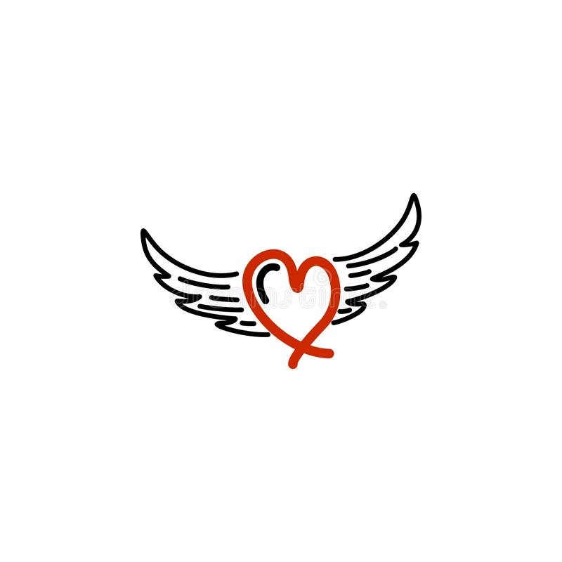 Red love with wing logo. royalty free illustration