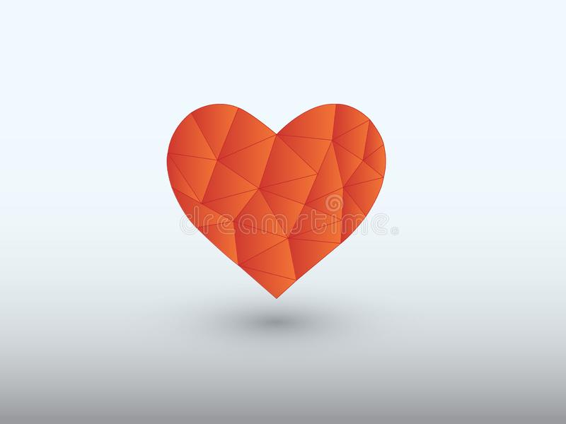 Red low poly heart shape of making love with shadow on light background. Vector illustration vector illustration