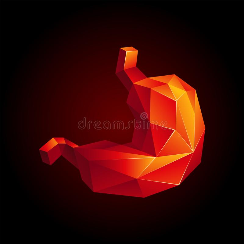 Red low poly human stomach on a black background. Abstract anatomy organ. Stomach in 3D polygon style royalty free illustration