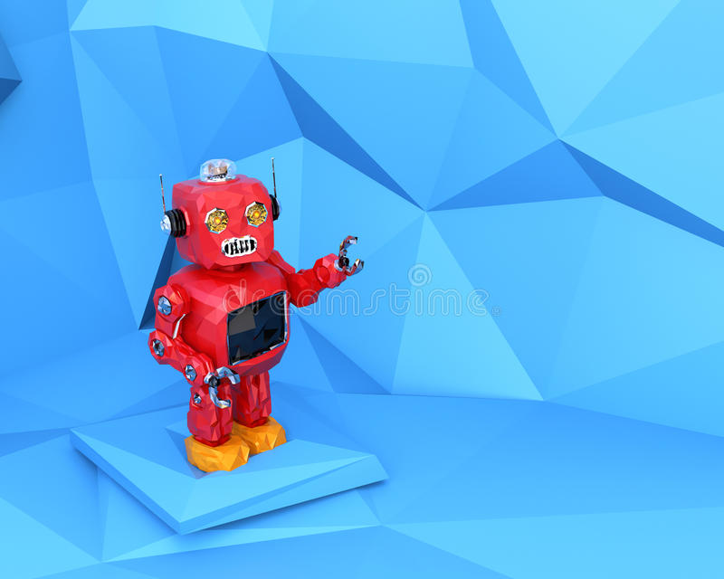 Red low poly robot in pastel blue polygonal background stock illustration