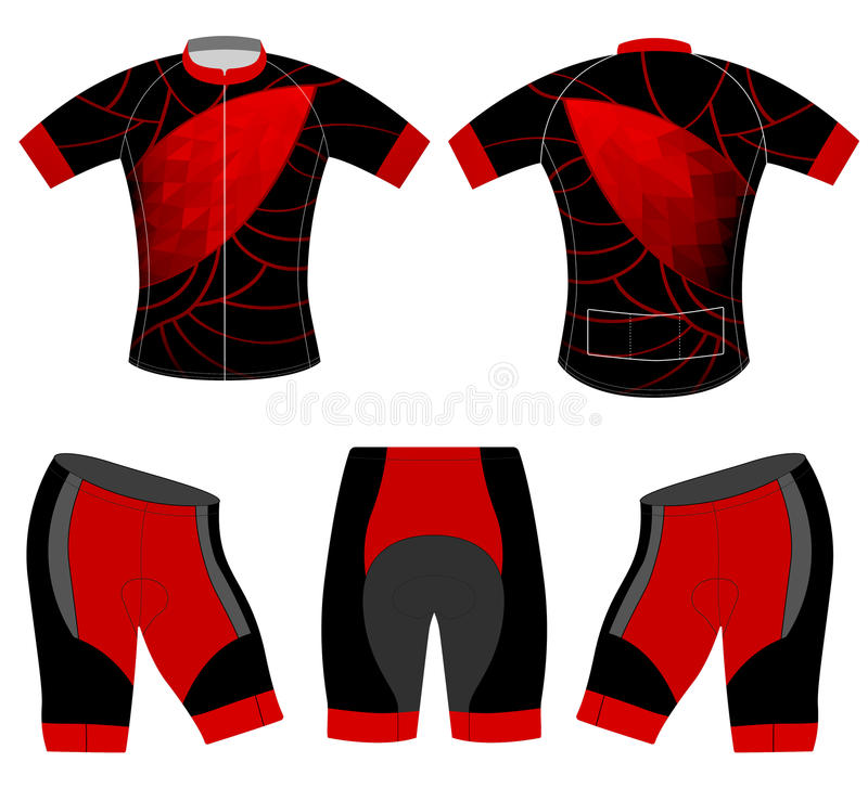 Red low poly style on sports t-shirt vector illustration