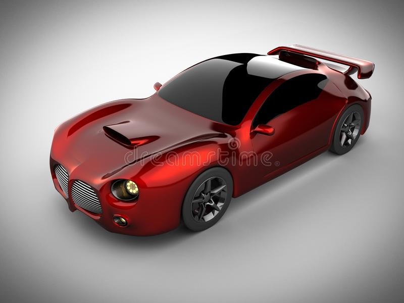 Red luxury brandless sport car on white background stock photo