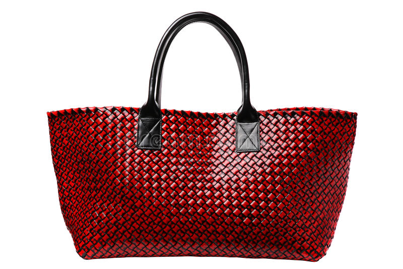 Red luxury leather bag. Isolated on white royalty free stock image