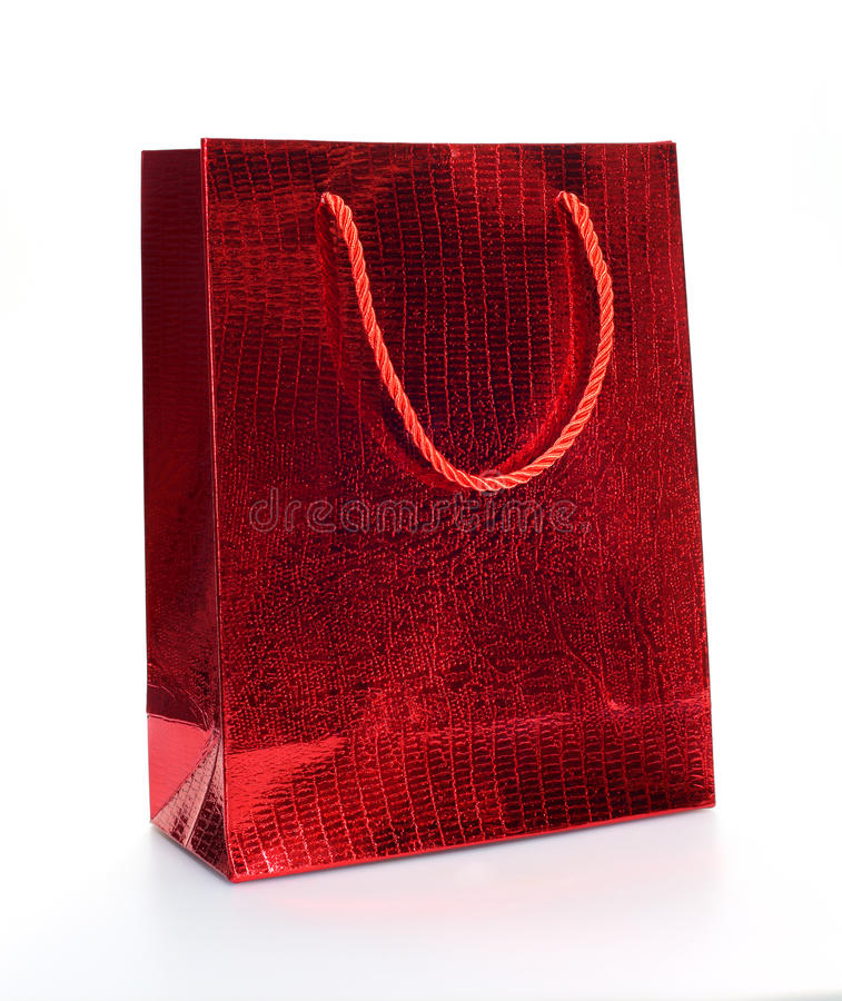 Red luxury shopping bag stock photos