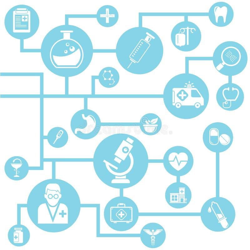 Red médica ilustración del vector