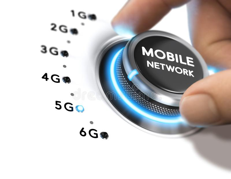 red móvil de la 5ta generación, lanzamiento del sistema inalámbrico 5G stock de ilustración
