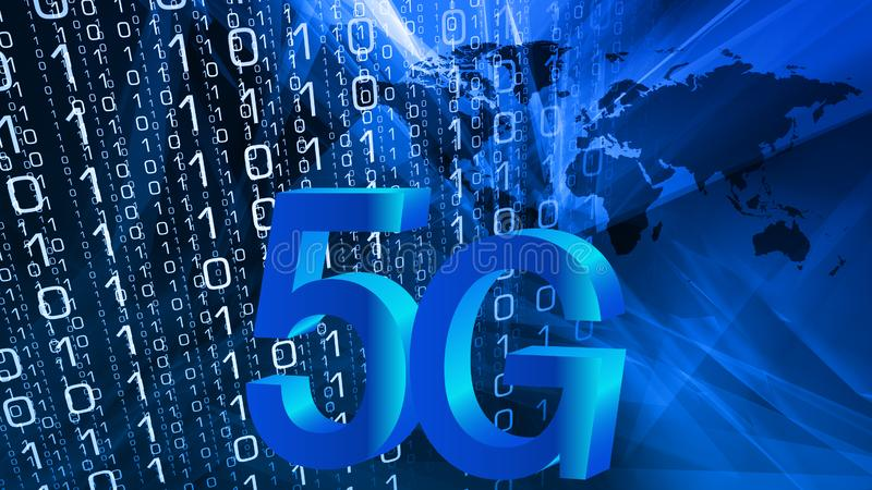 red móvil del mundo futuro de la seguridad 5G libre illustration