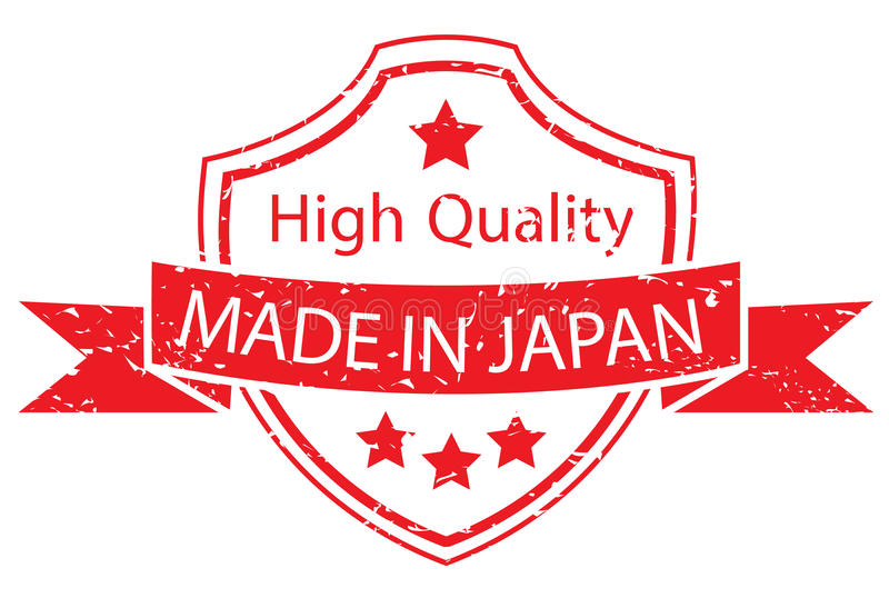 Red made in japan label stock illustration