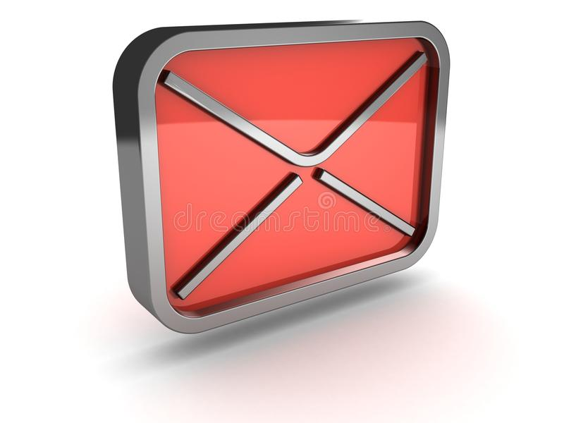Download Red Mail Envelope Metal Icon On White Background Stock Illustration - Image: 23491286