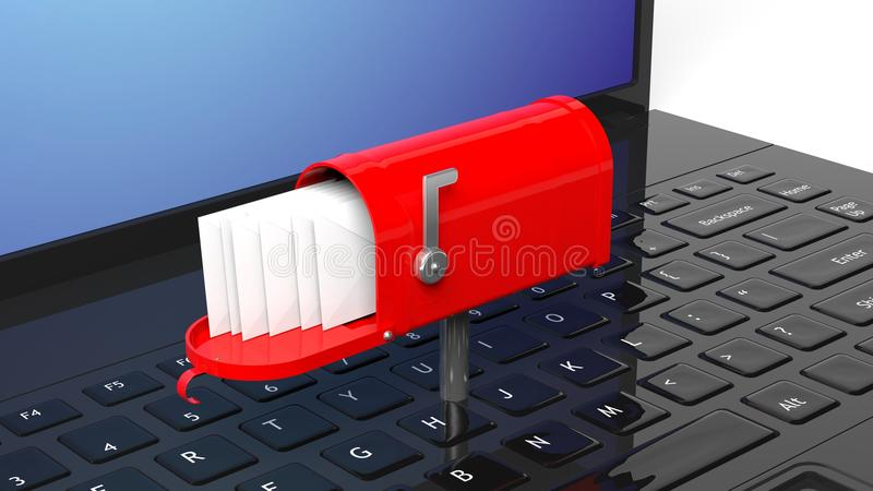 Red mailbox with with envelopes. On black laptop keyboard royalty free illustration