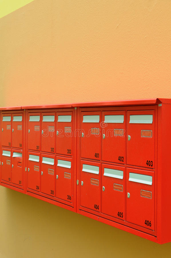 Download Red mailboxes stock photo. Image of post, package, stamp - 14850858