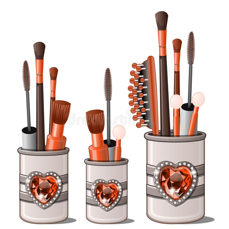 Red makeup brushes, mascara, comb, cotton buds. Makeup brushes, mascara, comb, cotton buds in cup holder with ruby heart framed with diamonds. Womens cosmetic stock illustration