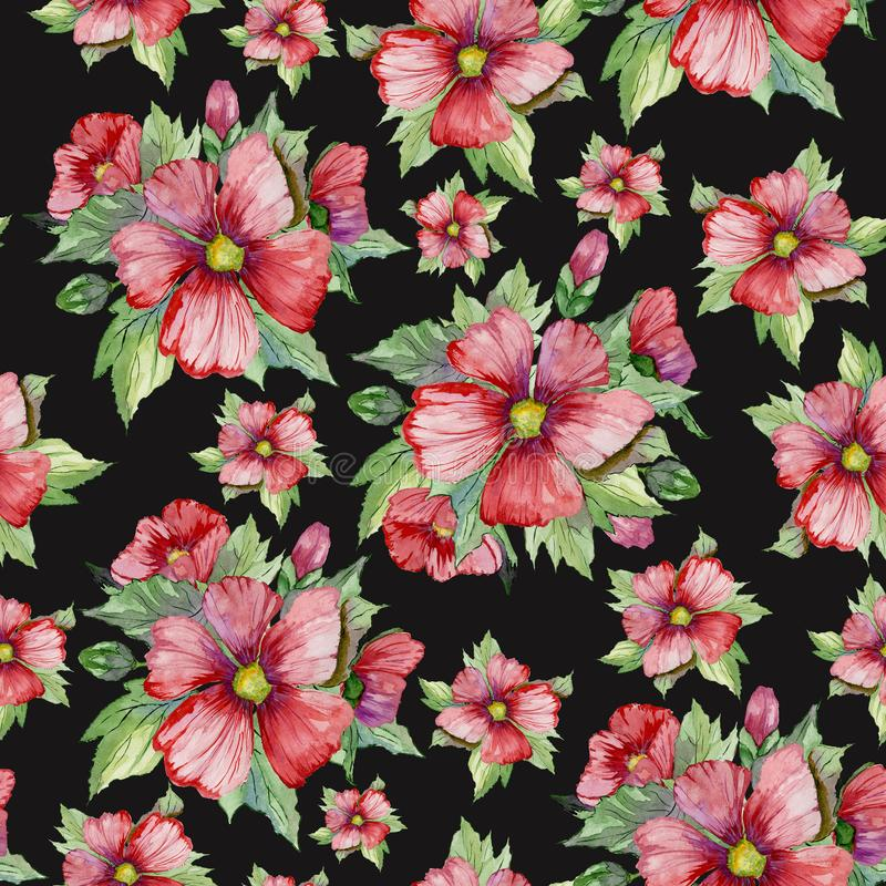 Red malva flowers with green buds and leaves on black background. Seamless floral pattern. Watercolor painting. vector illustration