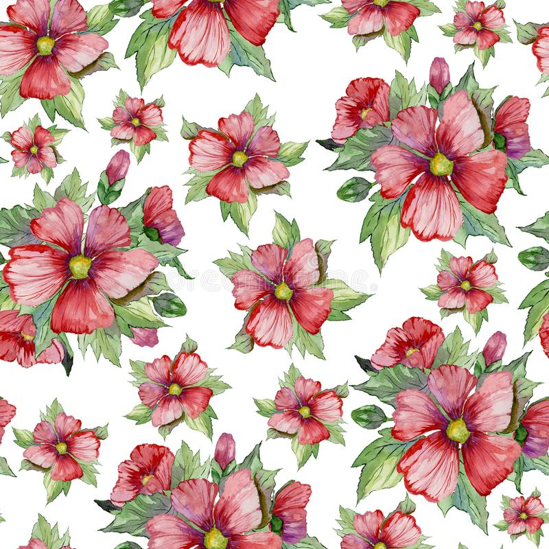 Red malva flowers with green buds and leaves on white background. Seamless floral pattern. Watercolor painting. stock illustration