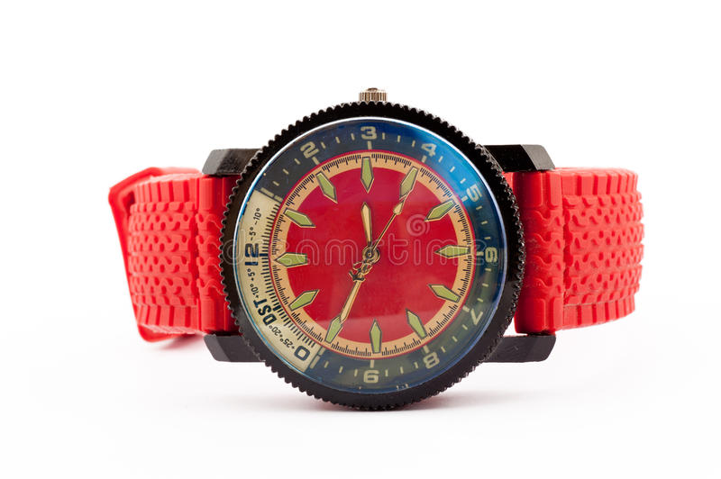 Red man`s watch. Men`s watch in red on a white background royalty free stock image