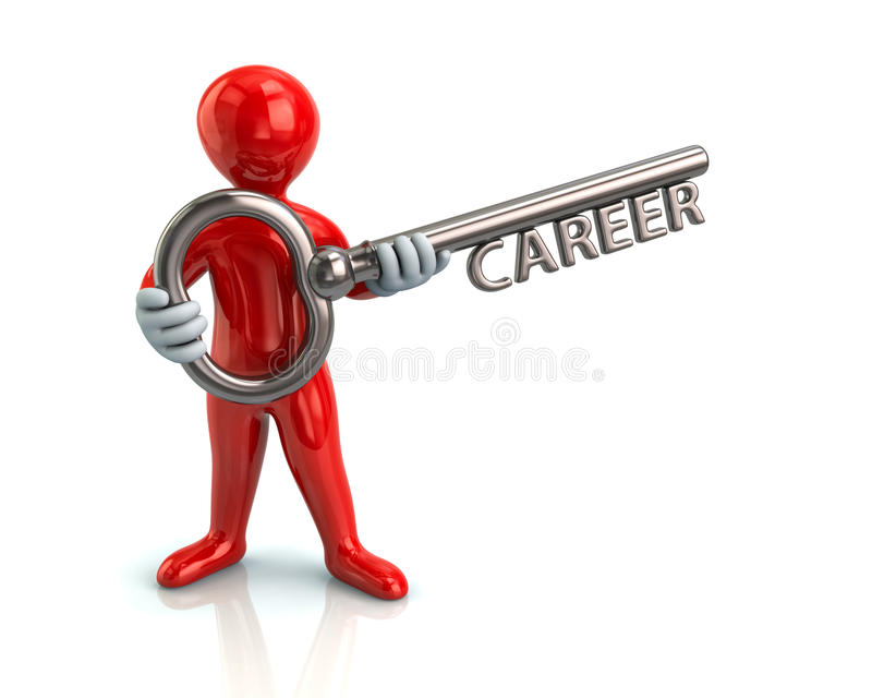 Red man and silver key with word career. Illustration of red man and silver key with word career stock illustration