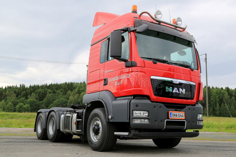 Red MAN TGS26.540 Heavy Truck Tractor stock images
