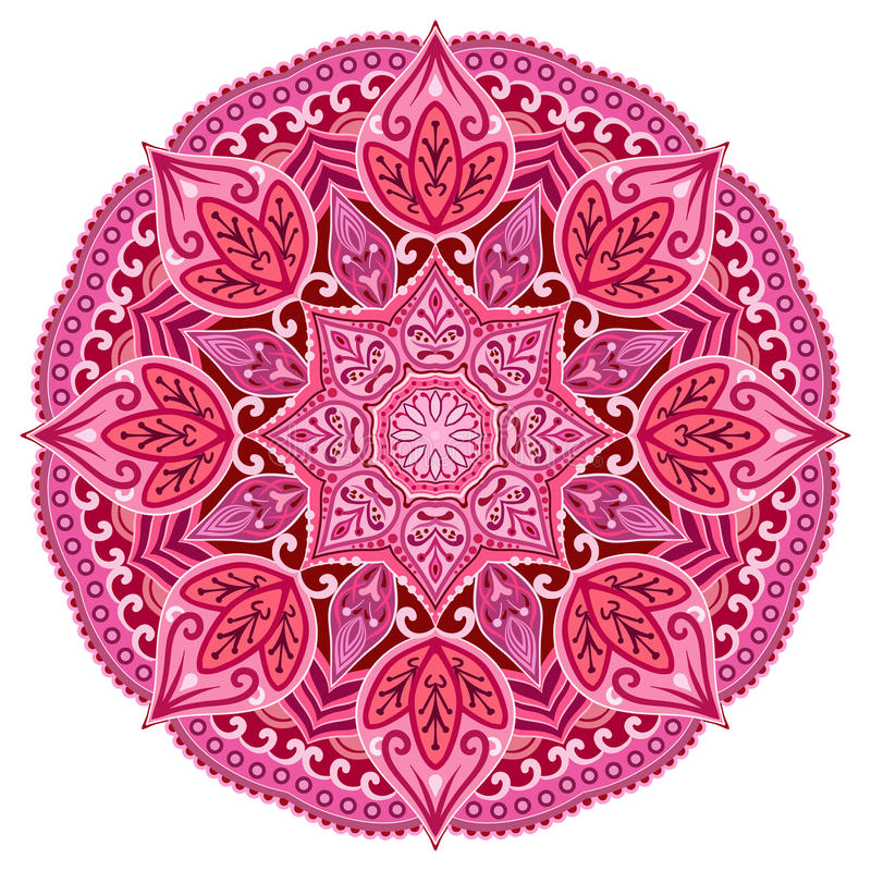 Red mandala. Card or invitation. Pink Wedding. stock image