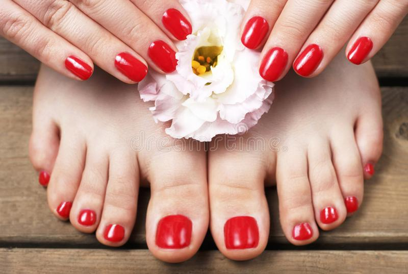 Red manicure and pedicure with flower close-up, on a wooden background, top view stock photos