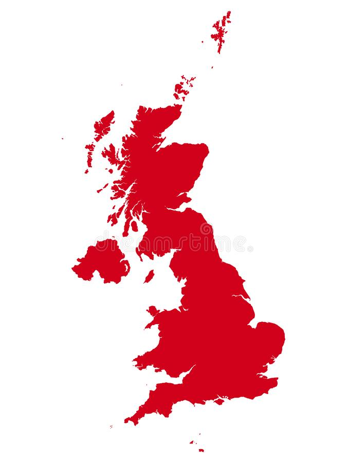 Red Map of European Country of United Kingdom. Vector Illustration of the Red Map of European Country of United Kingdom stock illustration