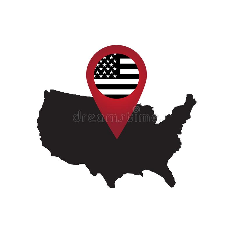 Red Map Markers on America. vector illustration