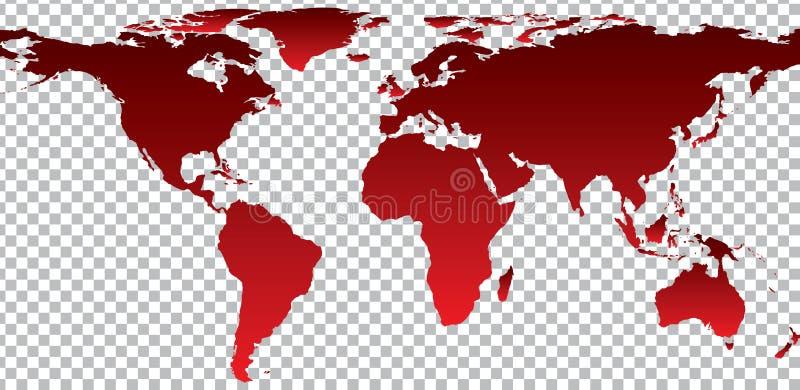 Red map of world on transparent background vector illustration