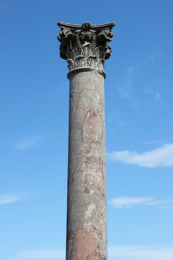 Red marble corinthian column stock image