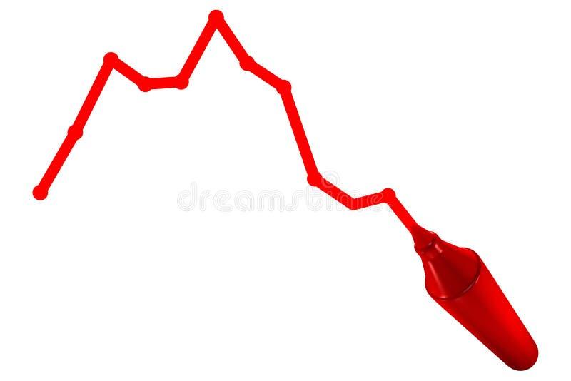 Red marker drawing chart. 3d render stock illustration