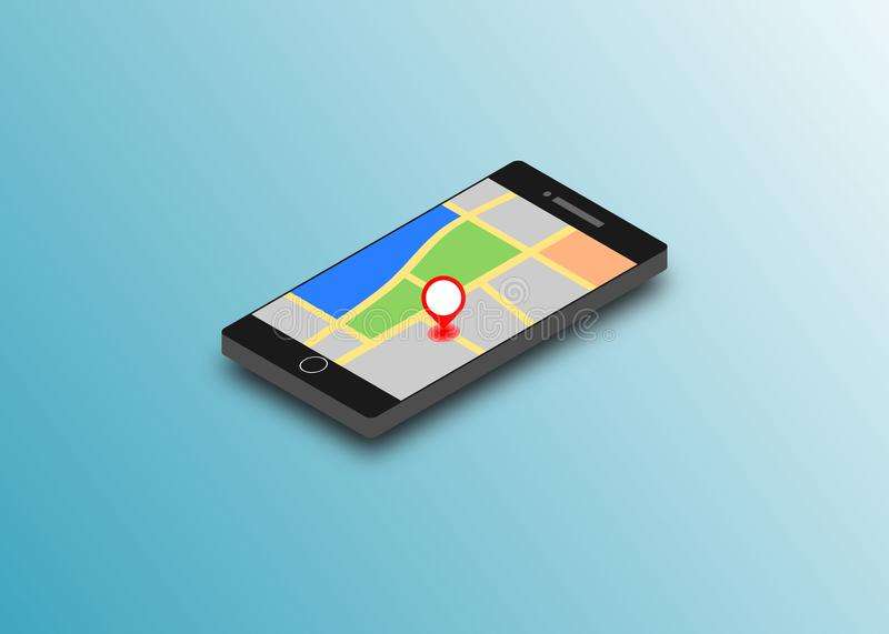 Red marker on GPS navigator location map inside smartphone. Isometric vector design concept. stock illustration