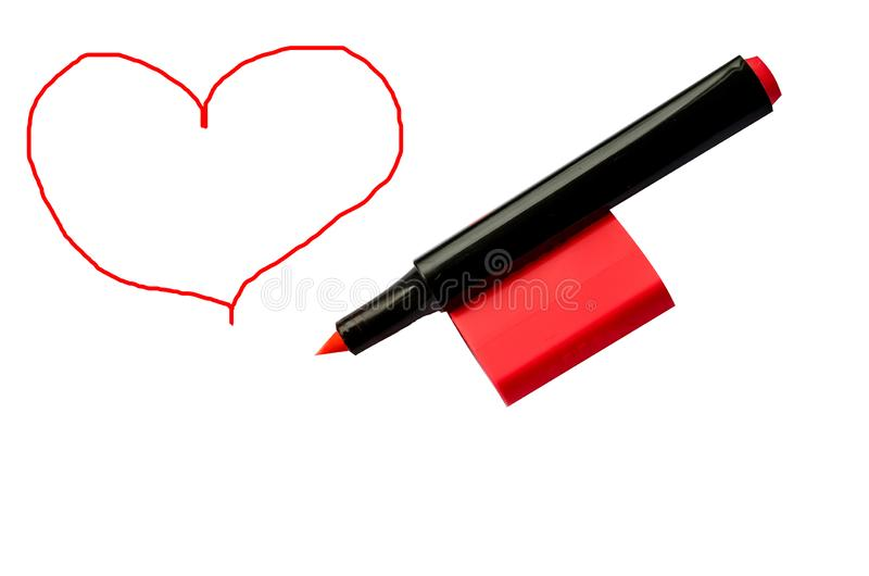 Red marker and heart royalty free stock photos