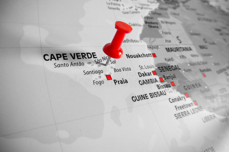 Red marker over Cape Verde Island stock photography
