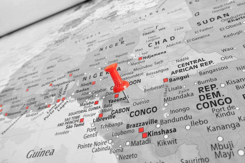Red marker over Congo royalty free stock photos