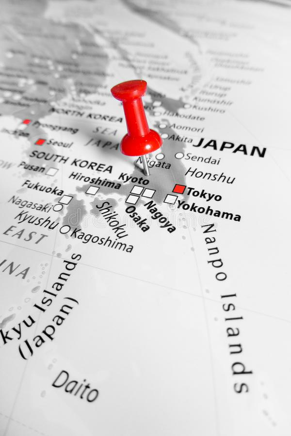 Red marker over Japan stock photos