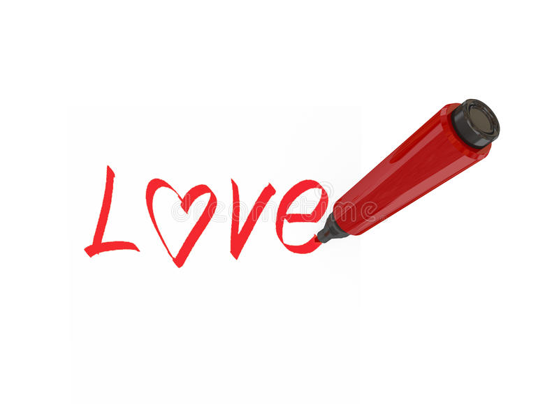 Red marker pen. Writing a word love. Isolated on white background stock illustration