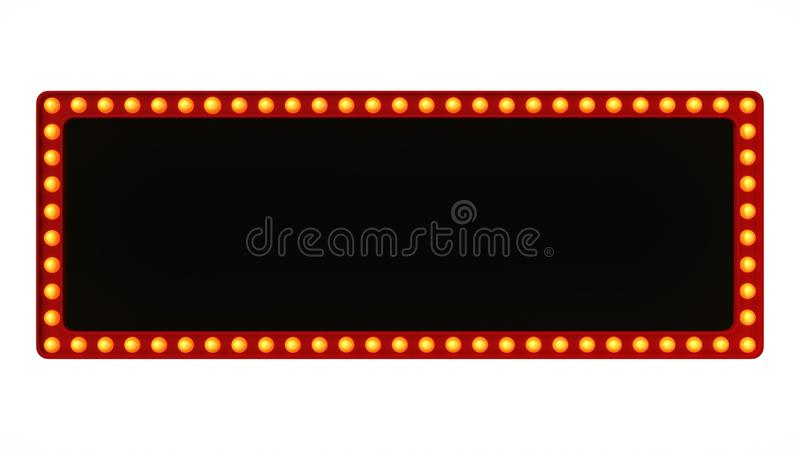 Red marquee light board sign retro on white background. 3d rendering stock photo