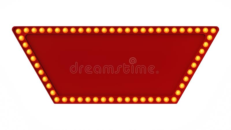 Red marquee light board sign retro on white background. 3d rendering stock images