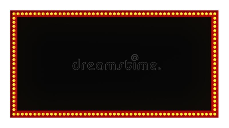 Red marquee light board sign retro on white background. 3d rendering royalty free stock image