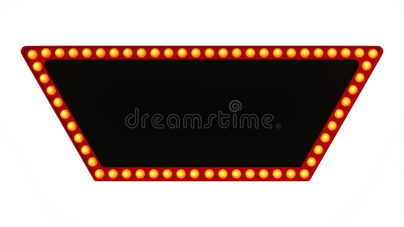 Red marquee light board sign retro on white background. 3d rendering royalty free stock photos
